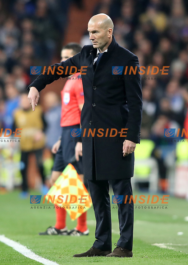Real Madrid's coach Zinedine Zidane during Champions League 2016/2017 Round of 16 1st leg match. February 15,2017. (ALTERPHOTOS/Acero)<br /> Champions League 2016/2017<br /> Foto Alterphotos / Insidefoto <br /> ITALY ONLY