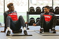 (L-R) Tammy Abraham and Luciano Narsingh exercise in the gym during the Swansea City Training at The Fairwood Training Ground, Swansea, Wales, UK. Thursday 15 February 2018
