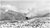 Freight train leaving Ridgway heading south to Ouray.<br /> D&amp;RGW  Ouray Branch, CO  Taken by Richardson, Robert W. - ca. 1951
