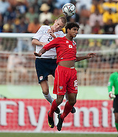 Jared Watt heads the ball. US Under-17 Men's National Team defeated United Arab Emirates 1-0 at Gateway International  Stadium in Ijebu-Ode, Nigeria on November 1, 2009.
