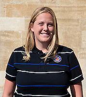 Head Performance Analyst Kate Burke poses for a portrait at a Bath Rugby photocall. Bath Rugby Media Day on September 8, 2015 at Farleigh House in Bath, England. Photo by: Rogan Thomson for Onside Images