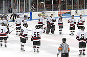 Huskies salute their fans - The Boston College Eagles and Northeastern University Huskies tied at 1 on Saturday, October 22, 2005, at Matthews Arena in Boston, Massachusetts.
