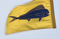 Mahi mahi fish flag blowing in the wind on a fishing boat at Honokahau Harbor in Kona
