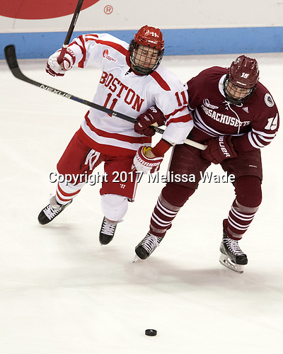 Patrick Curry (BU - 11), Niko Hildenbrand (UMass - 19) - The Boston University Terriers defeated the University of Massachusetts Minutemen 3-1 on Friday, February 3, 2017, at Agganis Arena in Boston, Massachusetts.The Boston University Terriers defeated the visiting University of Massachusetts Amherst Minutemen 3-1 on Friday, February 3, 2017, at Agganis Arena in Boston, MA.