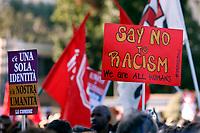 Banner Say no to racism<br /> Roma 10/11/2018. Manifestazione contro il decreto Salvini sull'immigrazione e contro il razzismo. Intitolata 'Uniti e solidali contro il Governo, il razzismo ed il Decreto Salvini'<br /> Rome November 10th 2018. Demonstration against the Salvini decree on immigration and against the racism.<br /> Foto Samantha Zucchi Insidefoto