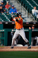 Norfolk Tides Zach Vincej (5) bats during an International League game against the Buffalo Bisons on June 21, 2019 at Sahlen Field in Buffalo, New York.  Buffalo defeated Norfolk 2-1, the first game of a doubleheader.  (Mike Janes/Four Seam Images)