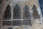 Historic Tudor brass floor grave memorial, Holy Trinity Church, Long Melford, Suffolk, England, UK