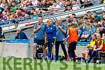 Kerry Selectors Tommy Griffin and James Foley with Kerry Manager Peter Keane during the All Ireland Senior Football Semi Final between Kerry and Tyrone at Croke Park, Dublin on Sunday.