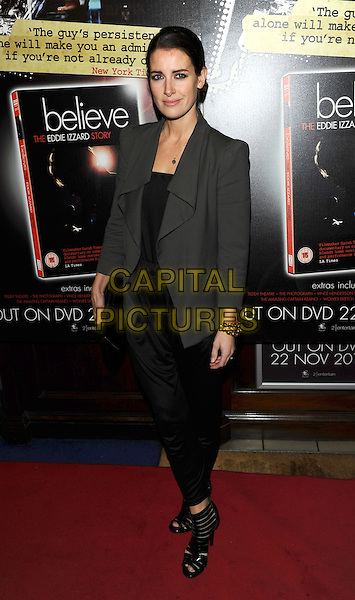 KIRSTY GALLACHER .Attending Eddie Izzard's DVD Premiere at Cineworld Haymarket, London, England, UK, November 18th 2010..full length grey gray jacket black dress tights leggings open toe shoes .CAP/CJ.©Chris Joseph/Capital Pictures.