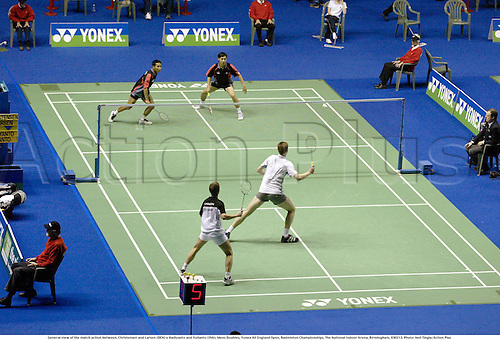 General view of the match action between, Christensen and Larsen (DEN) v Hadiyanto and Yulianto (INA), Mens Doubles, Yonex All England Open, Badminton Championships, The National Indoor Arena, Birmingham, 030213. Photo: Neil Tingle/Action Plus...2003.views