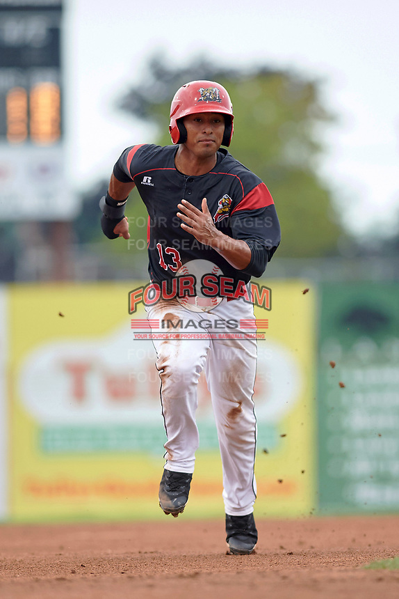 Batavia Muckdogs right fielder Jhonny Santos (13) running the bases during a game against the Lowell Spinners on July 12, 2017 at Dwyer Stadium in Batavia, New York.  Batavia defeated Lowell 7-2.  (Mike Janes/Four Seam Images)