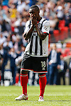 Jon-Paul Pittman of Grimsby Town looks dejected after missing a penalty in a penalty shoot out during the 2015 Vanarama Conference Promotion Final match between Grimsby Town and Bristol Rovers at Wembley Stadium, London<br /> Picture by David Horn/eXtreme aperture photography +44 7545 970036<br /> 17/05/2015