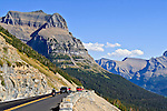 Cars can be seen driving across the Going to the Sun Road in Glacier National Park in Montana.