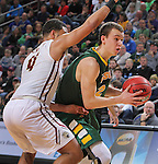 SIOUX FALLS, SD - MARCH 6:  Paul Miller #2 of North Dakota State is defended by Jordan Pickett #4 of IUPUI in the 2016 Summit League Tournament.  (Photo by Dick Carlson/Inertia)