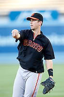 Buster Posey #28 of the San Francisco Giants before a game against the Los Angeles Dodgers at Dodger Stadium on October 02, 2012 in Los Angeles, California. San Francisco defeated Los Angeles 4-3. (Larry Goren/Four Seam Images)