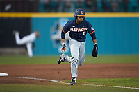 Taylor Jackson (15) of the Illinois Fighting Illini hustles towards home plate against the Coastal Carolina Chanticleers at Springs Brooks Stadium on February 22, 2020 in Conway, South Carolina. The Fighting Illini defeated the Chanticleers 5-2. (Brian Westerholt/Four Seam Images)