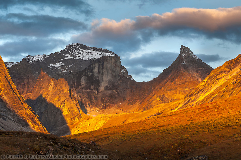 Morning light on Xanadu and Arial peaks, Gates of the Arctic National Park, Alaska.