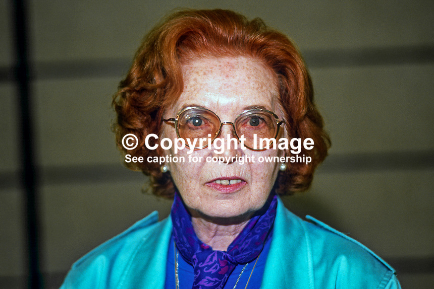 Mrs Kate Losinska, prominent member, Civil &amp; Public Servants Alliance, trade union, UK, born London to Irish parents, in retirement moved to Co Limerick. Died 16th October 2013.19860902KL<br /> <br /> Copyright Image from Victor Patterson, 54 Dorchester Park, Belfast, UK, BT9 6RJ<br /> <br /> Tel: +44 28 9066 1296<br /> Mob: +44 7802 353836<br /> Voicemail +44 20 8816 7153<br /> Skype: victorpattersonbelfast<br /> Email: victor@victorpatterson.com<br /> Email: victorpatterson@me.com (back-up)<br /> <br /> IMPORTANT: If you wish to use this image or any other of my images please go to www.victorpatterson.com and click on the Terms &amp; Conditions. Then contact me by email or phone with the reference number(s) of the image(s) concerned.