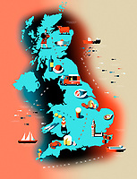UK food map with icons of regional specialties ExclusiveImage