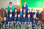ALL SET: All set for their first day at school last Thursday were the Junior Infants at the Presentation Convent School in Listowel with their teachers Mary Kilgallon and Jennifer Corridan.