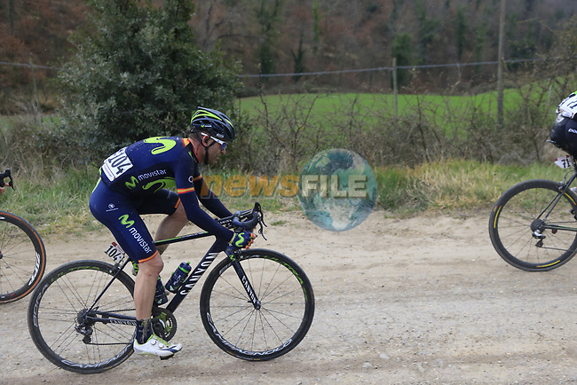 Jose Rojas (ESP) Movistar Team on gravel sector 6 Pieve a Salti during the 2017 Strade Bianche running 175km from Siena to Siena, Tuscany, Italy 4th March 2017.<br /> Picture: Eoin Clarke | Newsfile<br /> <br /> <br /> All photos usage must carry mandatory copyright credit (&copy; Newsfile | Eoin Clarke)