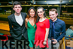 Enjoying the IT Tralee radio station fundraising black tie, 3T's charity night at the Kingdom Greyhound Stadium on Tuesday were Conor McGovern, Jacy Ybanez, Ciara Curtin andAidan Moroney