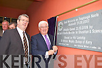 Minister Batt O'Keeffe unveils the plaque at the official opening of Holy Family NS Rathmore on Friday
