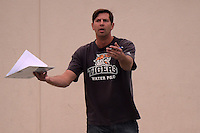 Mar 11, 2015; Claremont, CA, USA; Occidental College Tigers coach John Bonafede reacts against the Pomona-Pitzer Sagehens at Pomona-Pitzer. Photo by Kirby Lee