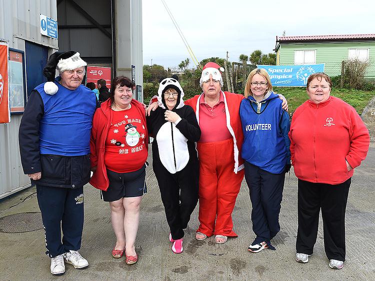 Joe Egan, Mary Duffy, Miriam Carolan, AnneEgan, Elane Moroney and Anna Floody wh took part in the Polar Plunge at Cloghedhead Beach in aid if the Special Olympics. Photo:Colin Bell/pressphotos.ie