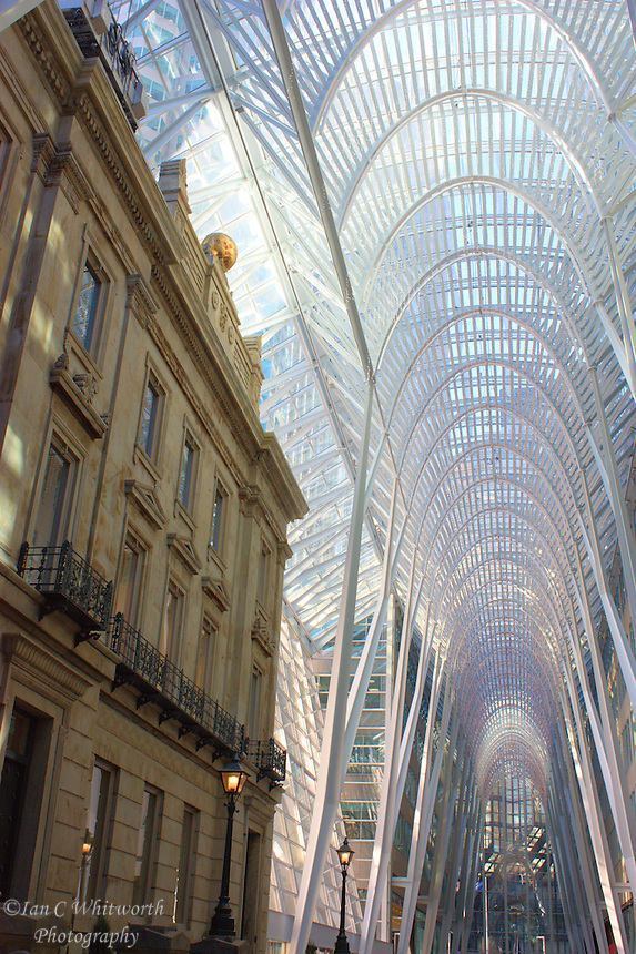 View inside BCE Place in Toronto showing the inclusion of an old bank building with the new atrium design