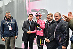 The Prime Minister Giuseppe Conte paid a visit to the Corsa Rosa today pictured with Paolo Bellino CEO of RCS Sport, race leader Maglia Rosa Primoz Roglic (SLO) Team Jumbo-Visma and Mauro Vegni Director of the Giro d'Italia at sign on before Stage 5 of the 2019 Giro d'Italia, running 140km from Frascati to Terracina, Italy. 15th May 2019<br /> Picture: Massimo Paolone/LaPresse | Cyclefile<br /> <br /> All photos usage must carry mandatory copyright credit (© Cyclefile | Massimo Paolone/LaPresse)