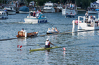 """Henley on Thames, United Kingdom, 6th July 2018, Friday, View,  """"Third day"""", of the annual,  SUI W1X., """"Jeannine GMELIN"""", winning, her first heat, """"Henley Royal Regatta"""", Henley Reach, River Thames, Thames Valley, England, © Peter SPURRIER,"""