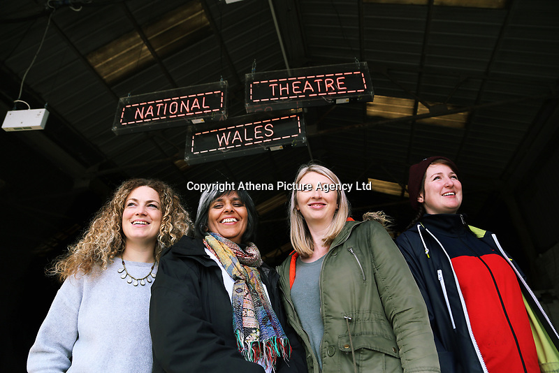 """Pictured L-R: Co-director Evie Manning, artistic director Kully Thiarai, writer Rachel Trezise and co-director  Rhiannon White<br /> Re: Press rehearsal of """"We'Re Still Here"""", a play created by Rachel Trezise, Common Wealth and the National Theatre Wales about steelworkers, which will be performed in Byass Works, a disused industrial unit, in Port Talbot, south Wales, UK."""
