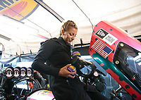 Mar 17, 2019; Gainesville, FL, USA; NHRA top fuel driver Leah Pritchett during the Gatornationals at Gainesville Raceway. Mandatory Credit: Mark J. Rebilas-USA TODAY Sports