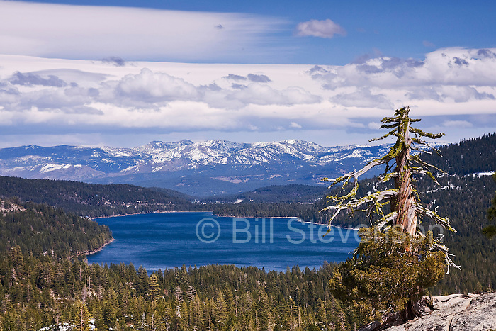 A photo of Donner Lake and the Carson Range in the Sierra mountains of California