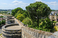 France, Maine-et-Loire (49), Angers, château d'Angers, les jardins, chemin de ronde et jardin