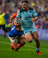 8th March 2020; Murrayfield Stadium, Edinburgh, Scotland; International Six Nations Rugby, Scotland versus France; Stuart McInally of Scotland runs in a try