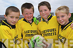 Team work: Wayne McGrath, John Leahy, Glenn Carey and Thomas Doherty, members of the Under 10 Listowel team who played in the Jim Corridon Tournament at Frank Sheehy Park on Sunday.   Copyright Kerry's Eye 2008