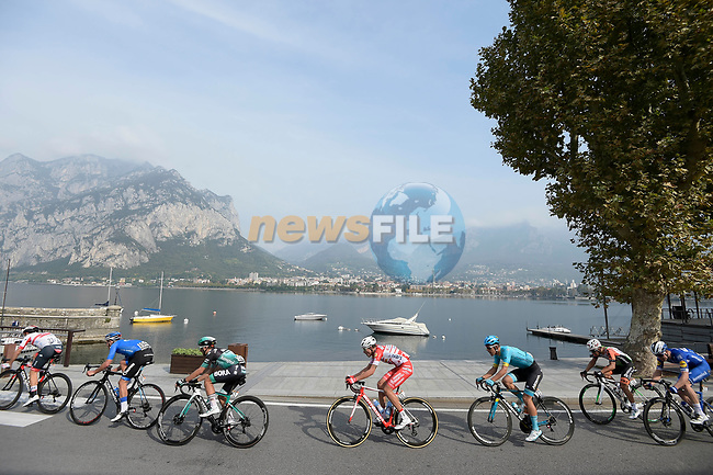 The early breakaway group on the shores of Lake Como during the 113th edition of Il Lombardia 2019 running 243km from Bergamo to Como, Italy. 12th Octobre 2019. <br /> Picture: Fabio Ferrari/LaPresse | Cyclefile<br /> <br /> All photos usage must carry mandatory copyright credit (© Cyclefile | LaPresse/Fabio Ferrari)