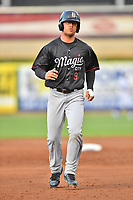 Birmingham Barons designated hitter Blake Rutherford (9) runs to third base base during a game against the Tennessee Smokies at Smokies Stadium on May 15, 2019 in Kodak, Tennessee. The Smokies defeated the Barons 7-3. (Tony Farlow/Four Seam Images)