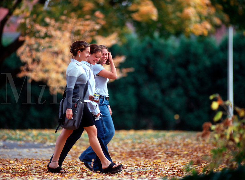 Three college students walking together on campus between classes