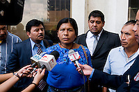 Julia Cortes (AJR) First day of retired General Lopez Fuentes' trial. Formally charged for genocide and crimes against humanity against the Maya Ixil people. Supreme Court, Guatemala City, September 2011