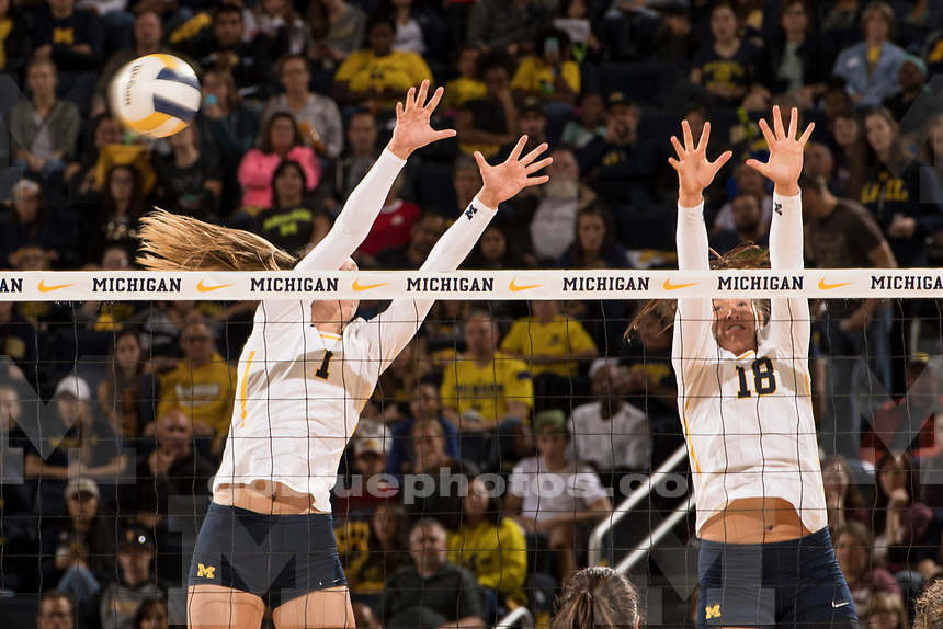 The University of Michigan volleyball team beats Ohio State, 3-1, at Crisler Arena in Ann Arbor on Sept. 29,, 2017.