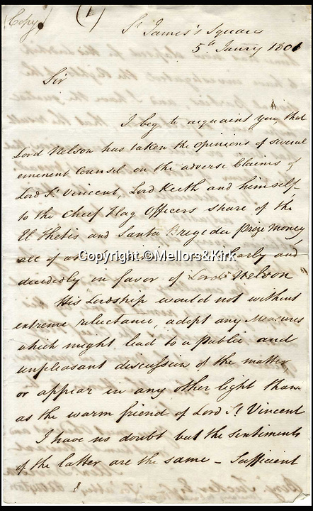 BNPS.co.uk (01202 558833)<br /> Pic: Mellors&amp;Kirk/BNPS<br /> <br /> Fascinating letters in which a cash-strapped Admiral Lord Nelson fired a financial broadside at his commanding officer in an unseemly row over prize money have come to light.The letters from Nelson's banker relate to much needed bounty the one-armed sailor felt he was due in the wake of one of the most lucrative naval engagements in history. Nelson had been overlooked a pay out for the 1799 capture of two Spanish frigates loaded with gold bullion which had a combined value of &pound;650,000 - &pound;65m in today's money.Nelson, who by this stage had to pay a hefty mortage on his grand home in Surrey, was in debt to ex-wife Fanny and had to keep mistress Emma Hamilton in the style she was accustomed to, was livid.Mellors &amp; Kirk auctions - 22 March - Est &pound;3000.