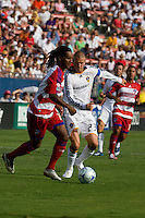 LA Galaxy midfielder David Beckham (23) chases down FC Dallas defender Adrian Serioux (15).  LA Galaxy vs FC Dallas at Pizza Hut Park Frisco, Texas July 27, 2008 Final Score 0-4.