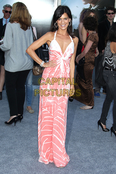 Perrey Reeves<br /> &quot;Elysium&quot; Los Angeles Premiere held at the Regency Village Theatre, Westwood, California, UK,<br /> 7th August 2013.<br /> full length white red orange print long maxi dress hand on hip <br /> CAP/ADM/RE<br /> &copy;Russ Elliot/AdMedia/Capital Pictures