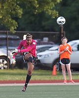 Western New York Flash goalkeeper Adrianna Franch (24) clears the ball.  In a National Women's Soccer League Elite (NWSL) match, the Boston Breakers (blue) tied Western New York Flash (white), 2-2, at Dilboy Stadium on June 5, 2013.