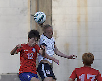 Korea Republic forward Yoo Younga (12) and USWNT defender Becky Sauerbrunn  (4) battle for head ball.  In an international friendly, the U.S. Women's National Team (USWNT) (white/blue) defeated Korea Republic (South Korea) (red/blue), 4-1, at Gillette Stadium on June 15, 2013.