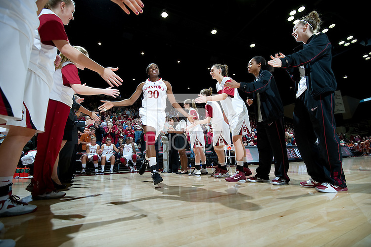 STANFORD CA-NOVEMBER 28, 2010: Nnemkadi Ogwumike takes the court before the Stanford 93-78 win over Texas in Stanford, California.