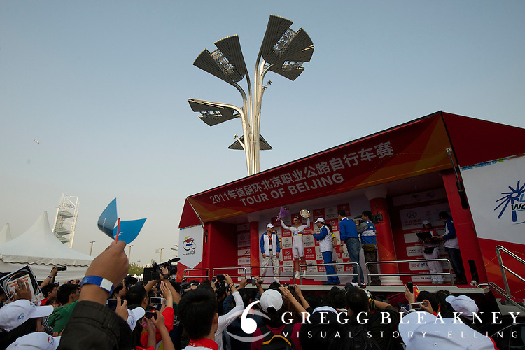 Tony Martin on the podium after wining the 2011 Tour of Beijing, Stage 1 ITT